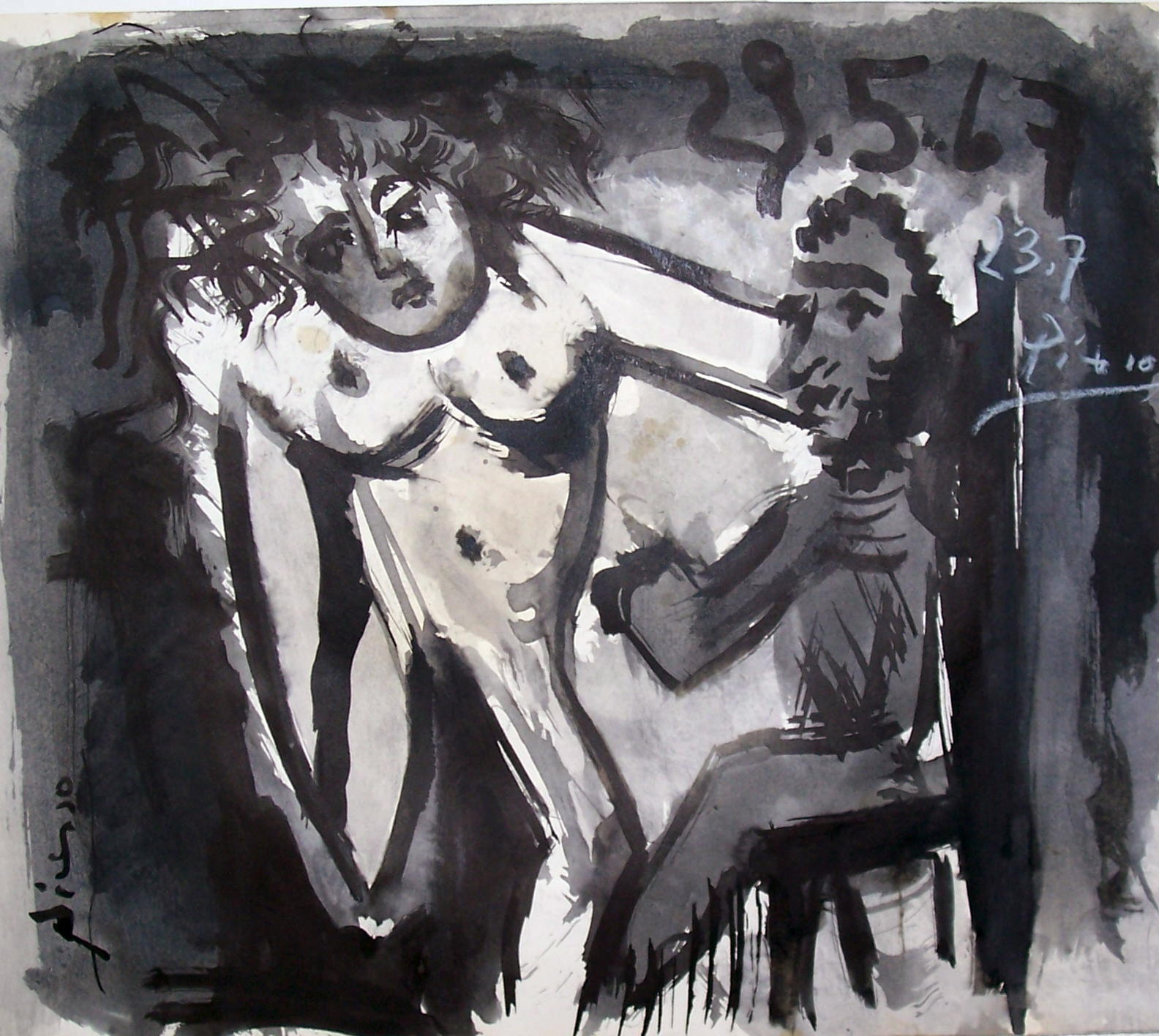 22d084e012109 ATTRIBUTED PICASSO GOUACHE ON PAPER